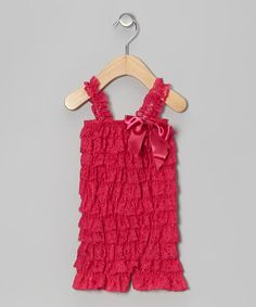 Take a look at this Hot Pink Lace Ruffle Romper - Infant & Toddler by Little Gem on #zulily today!