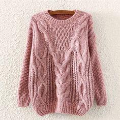 Pink Crochet Crew Neck Pullover