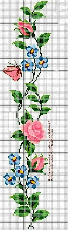 Roses and butterfly cross stitch pattern and color chart. Butterfly Cross Stitch, Cross Stitch Rose, Cross Stitch Borders, Cross Stitch Flowers, Cross Stitch Charts, Cross Stitch Designs, Cross Stitching, Cross Stitch Embroidery, Hand Embroidery