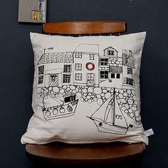 Printed Cushion Seaside Houses