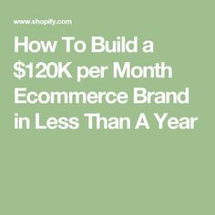 How To Build a $120K per Month Ecommerce Brand in Less Than A Year