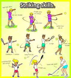 Free printable - How to teach baseball, tennis and hockey skills in kindergarten PE lessons at your school.   Check out the heaps of games, skills and lesson plans
