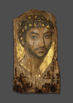 Roman, Egypt, Fayum region, Mummy Portrait of a Man Wearing an Ivy Wreath
