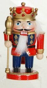 """7"""" Red and Blue Wooden Nutcracker King with Staff and Crown Christmas Figure by Sterling. $11.99. Wooden Nutcracker King with Staff and Crown Christmas FigureItem #73509001Features a nutcracker king wearing a bejeweled crown and holding a staff Painted in fine detail with faux fur embellishments Comes on a round baseFor decorative purposes onlyDimensions: 7""""H x 3""""W x 3""""DMaterial(s): wood/glitter/faux fur. Save 91%!"""