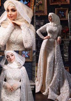 Wedding Hijab Styles, Muslim Brides, Pakistani Wedding Dresses, Bridal Dresses, Wedding Gowns, Wedding Cakes, Muslim Couples, Muslimah Wedding Dress, Hijab Bride