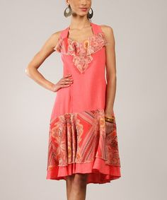 Another great find on #zulily! Coral Paisley Ruffle Linen-Blend Sleeveless Dress #zulilyfinds