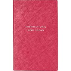 """Smythson """"Inspirations and Ideas"""" Panama Notebook ($80) ❤ liked on Polyvore featuring home, home decor, stationery and pink"""