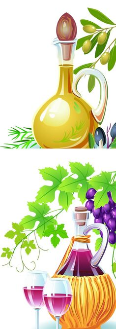 oil and wine vector illustrations
