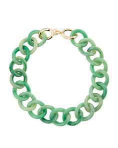 Kenneth Jay Lane Enamel Link Necklace, Green/Golden