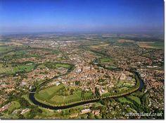 Aerial photo of Shrewsbury, Shropshire, England.
