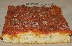sfincione recipe the cuisine of rosalba Beef Recipes For Dinner, Pizza Recipes, Easy Delicious Recipes, Yummy Food, My Favorite Food, Favorite Recipes, Focaccia Pizza, Sicilian Recipes, Italian Recipes