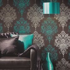 Nikita feature wallpaper, modern damask, pink and white, black, chocolate teal