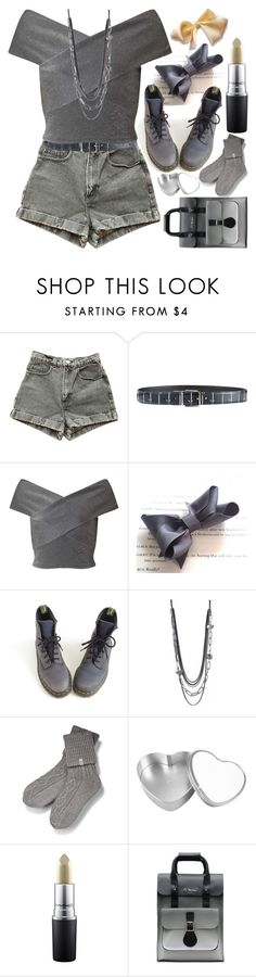 """Gray And Yellow"" by grozdana-v ❤ liked on Polyvore featuring American Apparel, Dolce&Gabbana, Miss Selfridge, Dr. Martens, UGG and MAC Cosmetics"