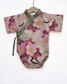 Baby Kimono Bodysuit Romper - SPRING SAKURA  0 through 24 months  - girls unique baby clothes on Etsy, $35.00