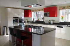 Another successful fitting using Red and Black Corian what a fabulous combination British Country, Drawer Unit, Kitchen Worktop, Splashback, Corian, Bespoke Design, All Design, Kitchen Design, Contemporary