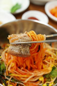 Bibim Guksu (with sam gyup sal, pork belly).  Oh boy.