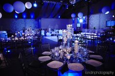 Blue & Logo Theme Bar Mitzvah Party {Venue: Life...The Place To Be, Ian Londin Photography} - mazelmoments.com