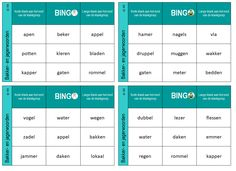 De woorden met een korte en lange klank aan het eind van een klankgroep oefenen in deze bingo. Dutch Language, Language Lessons, Bingo, Circuit, Homeschool, Letters, Teaching, Education, Period