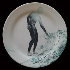 "#surf #plate #ceramics #handpainted [THJané, ""130813"", 2013 