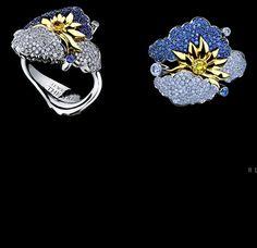 Jewellery Theatre: Jewellery Clouds Ring, 18K white gold  167 diamonds  1 yellow diamond 135 blue sapphires