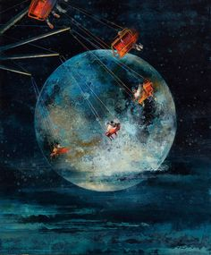 Like a double exposed photograph or hazy dream, Eric Roux-Fountaine's paintings capture worlds just slightly outside of our known reality, magical moments dotted with starlight and ghostly orbs. Within the softly paintedworks, tightrope walkers teeter through tall forests at dusk, while co