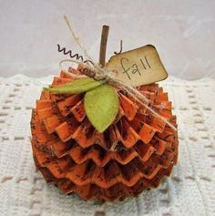 Folded paper pumpkin.  DIY Fall decor project