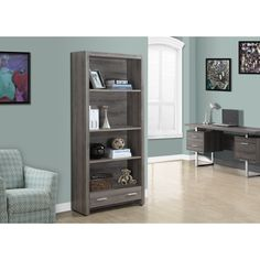 71X32 Update your home decor with this exquisite 4-tier bookcase. Featuring a dark taupe finish, this bookcase possesses a reclaimed look which adds warmth and texture to your home.
