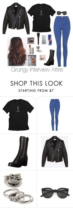 """Grungy Interview"" by brenda-all-over ❤ liked on Polyvore featuring Topshop, Frye, Yves Saint Laurent, xO Design, Ilia and Forever 21"