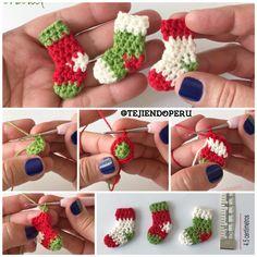 Mini botitas o medias de Navidad tejidas a #crochet en 5 minutos  Video tutorial