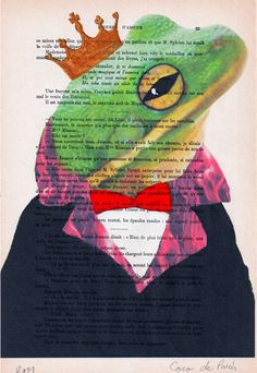 Drawing Illustration Giclee Prints Posters Mixed Media Art Acrylic Painting Holiday Decor Gifts: The Original Frog King. $10.00, via Etsy.