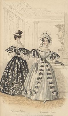 Black and white gowns maybe half mourning. June, 1834 - Dinner Dress, Evening Dress - Court Magazine
