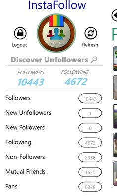 InstaFollow Discover who unfollowed you on Instagram and who is not following you back, track new followers, find mutual friends, view fans and more … Use InstaFollow app so that you can guard your Instagram account and get so much insight. It's fast, accurate and extremely intuitive. Tracking...  http://www.windows8apps.net/instafollow/