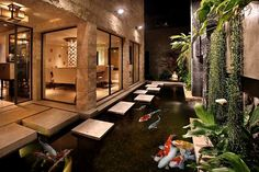 A modern Koi Pond in California Beach House