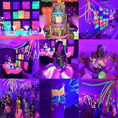 my birthday party beautiful ❤️ Neon Birthday, 13th Birthday Parties, Birthday Party For Teens, Birthday Party Themes, 10th Birthday, Birthday Ideas, Glow In Dark Party, Glow Party, Disco Party