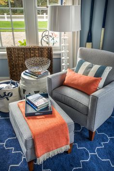 HGTV Dream Home 2015: Guest Bedroom Collin Chair and Ottoman, Tangerine Accents, custom pillows