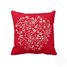 "Cream hearts on red love pillow. Throw Pillow 20"" x 20""."