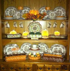 My hutch decorated for Fall with the help of QVC's Temptations Fall Bakeware and Valerie Par Hill's beaded light up pumpkins!