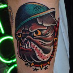 "kingfantastic: "" Bulldog on Connor. Thanks man! (at Heart And Soul Tattoo) """