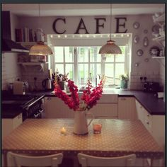 "I love the words ""CAFE"" in a kitchen! so cozy!"