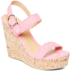 Charles Albert Fuchsia Wedge Sandal (705 THB) ❤ liked on Polyvore featuring shoes, sandals, wedge sandals, platform wedge shoes, fuchsia shoes, wedges shoes and fuchsia sandals