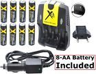 3100mAh 8-Pcs AA Battery With Home & Car Charger for Nikon Coolpix L810