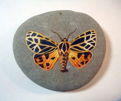 Original realistic orange, ochre and black 'tiger moth' acrylic miniature painting