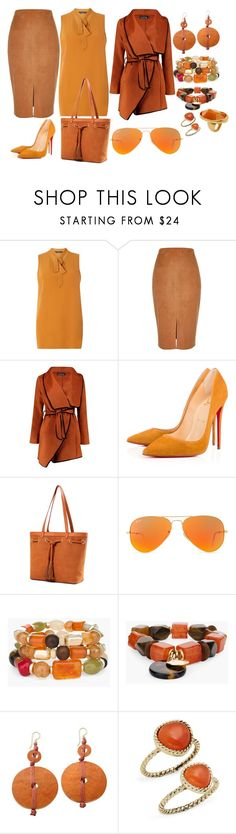 """""""Monochrome #3 Orange"""" by theranna ❤ liked on Polyvore featuring Dorothy Perkins, River Island, Boohoo, Christian Louboutin, Ray-Ban, Chico's, NOVICA, Saks Fifth Avenue and Kenneth Jay Lane"""