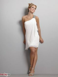 Hot Selling style, One Shoulder Beaded Chiffon White Mini Elegant Homecoming Dresses