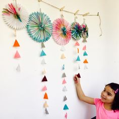 Kids crafted garland from party supplies with felt ribbon.  Party decor, party decorations