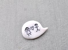 Wedding polymer clay white pin brooch by madamaRobe on Etsy, €13.00