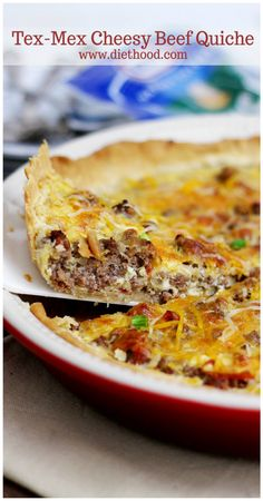 Tex-Mex Cheesy Beef Quiche: This Tex-Mex Cheesy Beef Quiche is a great weeknight meal filled with the delicious flavors of the Southwest and topped with handfuls of Taco Shredded Cheese.
