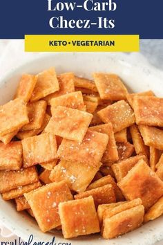 These Cheez-Its are the perfect snack for your low-carb diet! This recipe is low-carb, keto, gluten-free, grain-free, vegetarian, refined-sugar-free, and only 2.2g net carbs per serving! #keto #lowcarb #primal #snack #ketosnack #healthysnack #lowcarbsnack Keto Friendly Desserts, Low Carb Desserts, Low Carb Recipes, Diet Recipes, Snack Recipes, Primal Recipes, Ketogenic Recipes, Dessert Recipes, Pain Keto