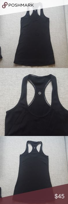 Lululemon Black Racerback Excellent condition, worn once. Reversible racerback tank top. Size tags removed but this is a size 4. lululemon athletica Tops