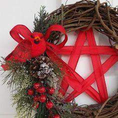 Pentacle Wreath Wiccan Wreath Yule Wreath Winter by TheShabbyWitch